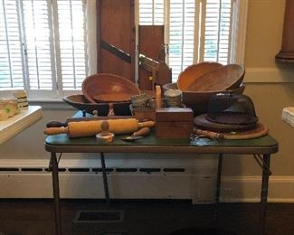 Beautiful old wooden bowls, rolling pins, vintage tin molds, seasoned roasting pans
