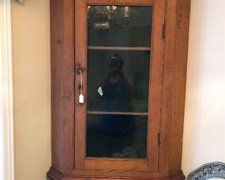 Gorgeous and rare pine corner cabinet