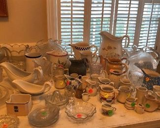 Can you say pitchers? Glass, porcelain, big, medium & small & gravy boats perfect for thanksgiving gravy!!!