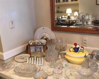 Adorable yellow tureen with veggies, hobnail pitcher, glass bowls, platters & serving pieces, cute oil & vinegar set