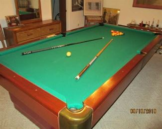 "Full size 9' Brunswick pool table with 1 1/2"" slate."