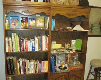Office bookcases, books, and collectables.