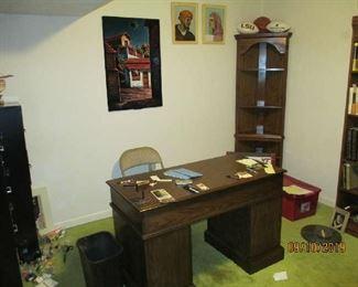 Office desk, corner cabinet, file cabinets,