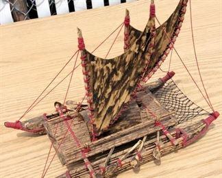 APC028 Wooden Outrigger Canoe Art