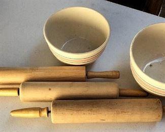 APC052 Vintage Rolling Pins & Ceramic Bowls