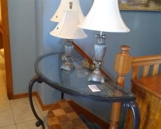 Sofa table w/glass top, has matching end table and coffee table.