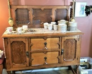 Nice ca. 1910 sideboard with barley twist legs...