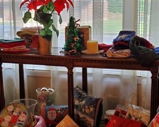 Sofa table and Christmas items