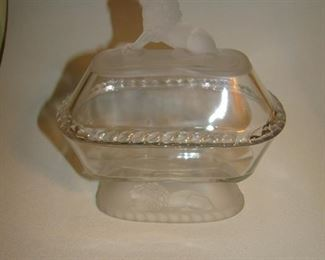 American pressed glass lion covered dish