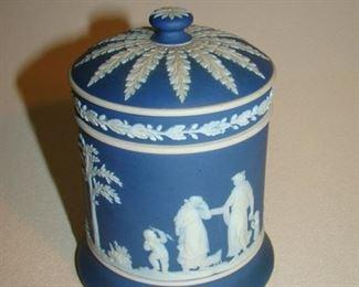 Wedgwood blue jasper ware lidded jar
