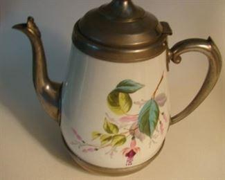 Porcelain and pewter tea pot