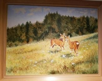 Oil on canvas, White Tail Deer