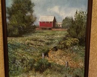 Oil on Canvas, Landscape with Red Barn