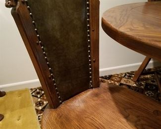Viking Oak chairs/table with carved horse head features
