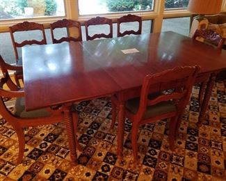 Cherry Seven chair & drop leaf table with matching cabinet