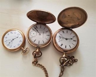 Several pocket watches including Illinois & Elgin