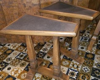 Viking  Oak side tables with copper in-laid tops