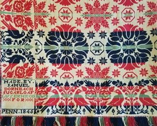 Classic Jacquard coverlet in red, blue and green