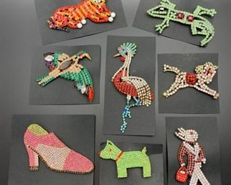 Czech rhinestone animal pins (and a high heel shoe) which came directly from factories in the Czech Republic, all 50% off!