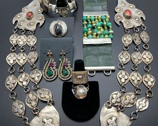 Eclectic collection of silver jewelry from all over the world, all 50% off!