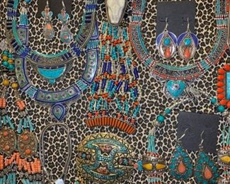 Bohemian jewelry from Tibet, metal is silver with a touch of brass mixed in to retard tarnishing. All 50% off!