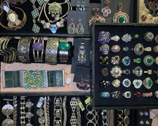 Sterling silver jewelry from Dubai and Mexico as well as designer pieces by Sajen and Jay King, all 50% off!