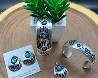 Native American bear paw theme jewelry, sterling silver with genuine stones. All 50% off!