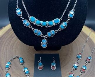 Native American snake theme jewelry by famous Zuni artist Effie Calavaza and daughter Jude Candelaria, sterling silver with genuine turquoise and coral. All 50% off!