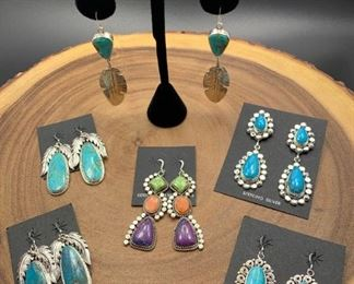 Fabulous Native American Navajo statement earrings, sterling silver with genuine stones. All 50% off!