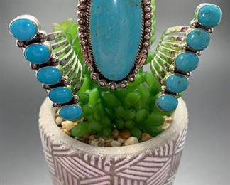 Native American Navajo statement rings, sterling silver with genuine turquoise. All 50% off!
