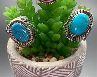 Native American Navajo men's statement rings, sterling silver with genuine turquoise. All 50% off!