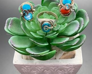 Native American snake theme rings for men and women by famous Zuni artist Effie Calavaza, sterling silver with genuine turquoise and coral. All 50% off!