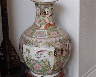 Large 3 ft tall Satsuma Vase on pedestal