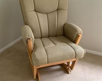 Glider chair with matching gliding ottoman (not pictured) extra wide, recline, neutral color, very comfortable