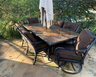 Outdoor Stone top table with chairs