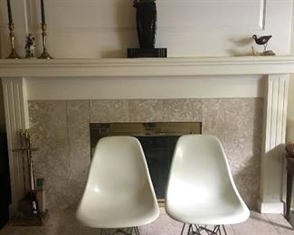 Herman Miller Eames Molded Plastic  Chrome Chairs 6 total