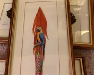 Handpainted artwork on feather
