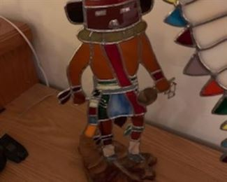 Stained glass Native American Statue