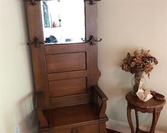 Awesome antique hall tree and side table