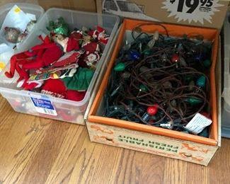 Vintage Japan Christmas elves and vintage strands of lights