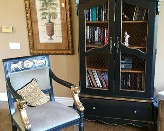 EXCELLENT LION HEADED CHAIR & BLACK TALL DISPLAY CABINET.