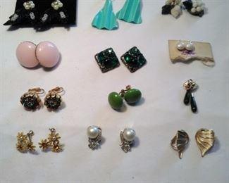 clip on earrings including Weiss vintage rhinestone earrings