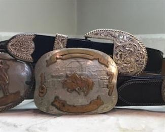 3 Vintage Western Buckles and Belt sets and 1 unbelted Buckle