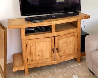 Rustic Hand-made Heavy Pine Media Cabinet - $235 - (56W  18D  36H)
