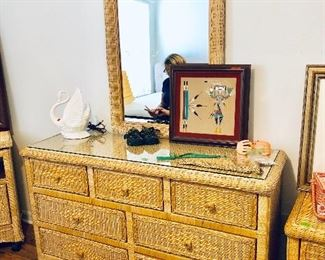 Natural Wicker Dresser w/Mirror and Glass Top - $250 - (54W  18D  33H w/o mirror)
