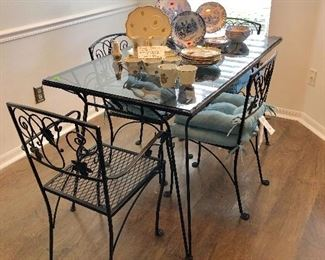 Black Wrought Iron Glass-top Table w/4 Chairs - $300 - (30W  50L  30H)