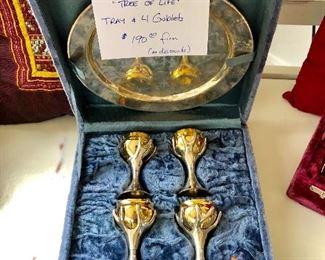"""Sandra Kravitz """"Tree of Life"""" Tray with 4 Goblets"""