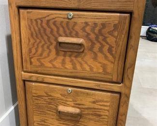 Oak Legal size filing cabinet