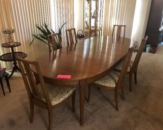 vintage all wood dining room table and chairs