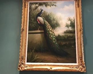 Huge Sarah Robertson signed oil painting of a lovely peacock